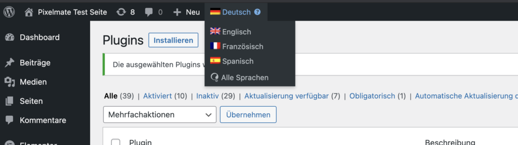 Cookie Banner mit WPML und DSGVO Pixelmate mehrsprachig machen